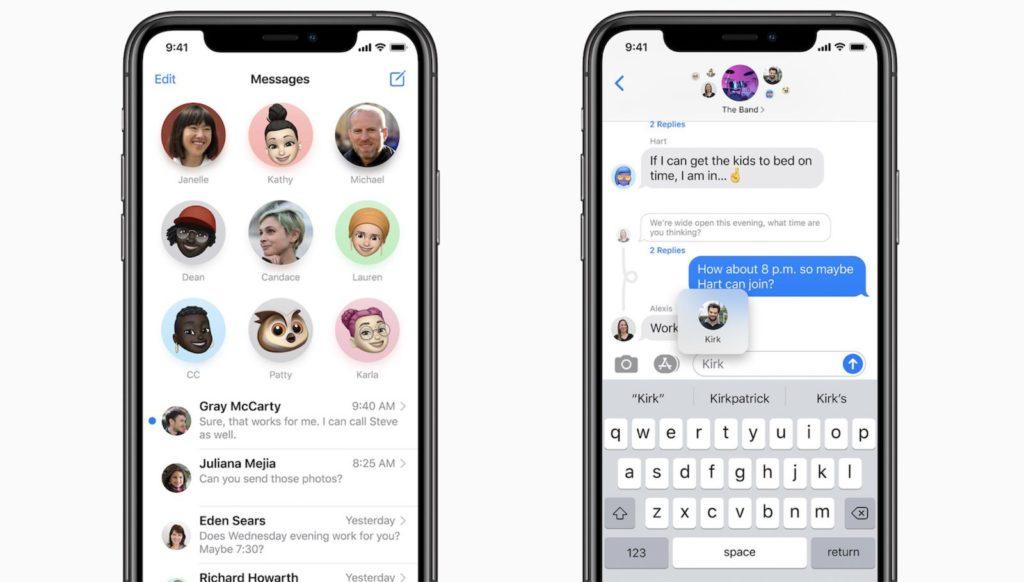 Tampilan chat pada iOS14 yang punya fotur mirip WhatsApp
