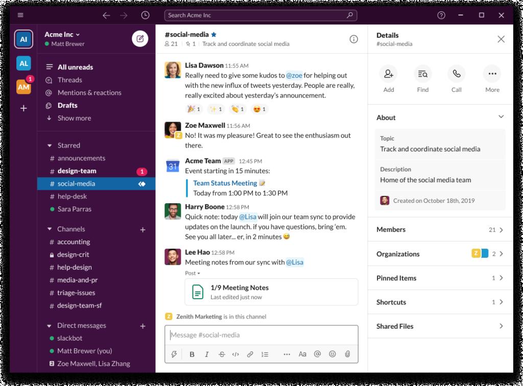 Tampilan Slack untuk memantau proses remote meeting